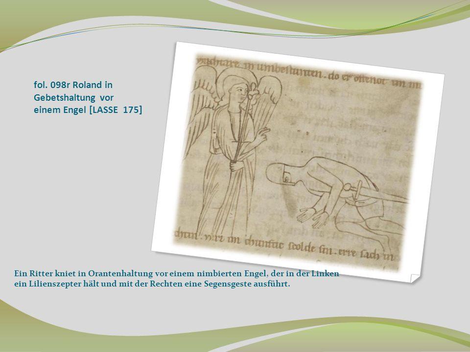 fol. 098r Roland in Gebetshaltung vor einem Engel [LASSE 175]